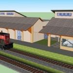 Estação Ferroviária restaurada e ampliada. Obra sendo executada.