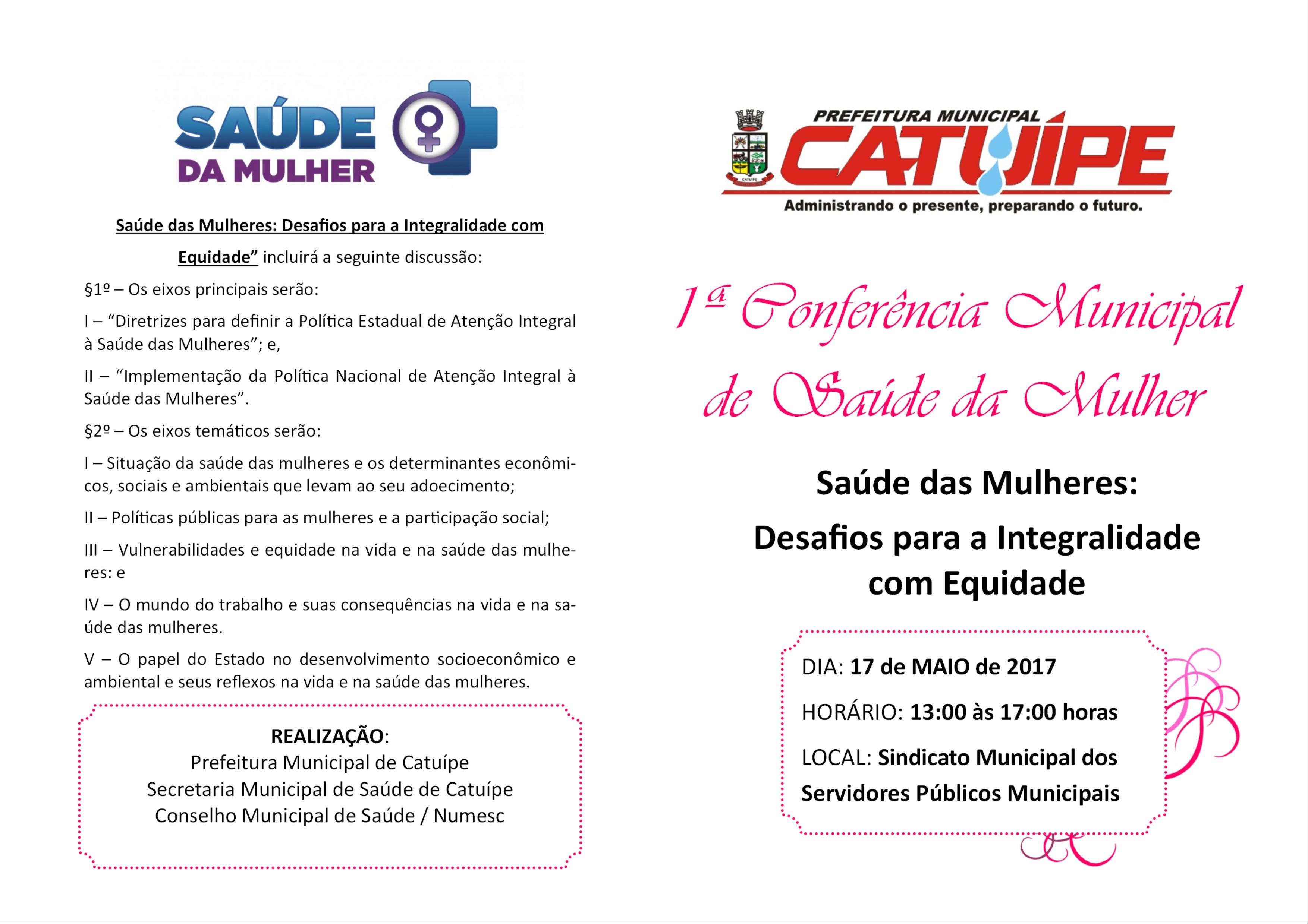 1º Conferência Municipal de Saúde da Mulher  acontece dia 17 de maio