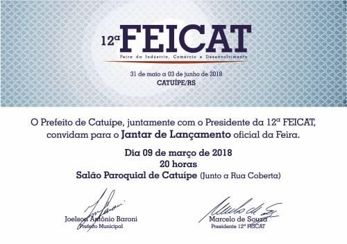 Lançamento oficial da 12ª Feicat será realizado amanhã