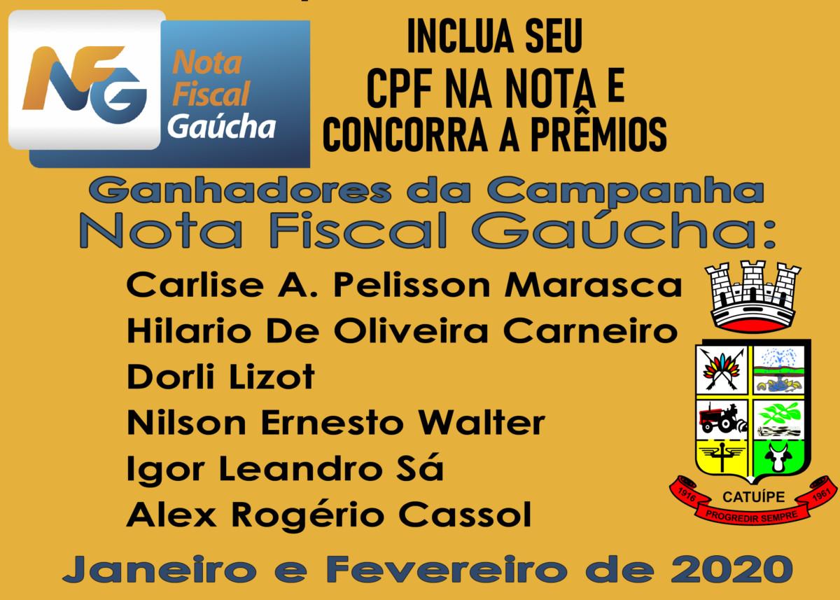 Confira os Ganhadores do Programa Nota Fiscal Gaúcha de Janeiro e Fevereiro de 2020