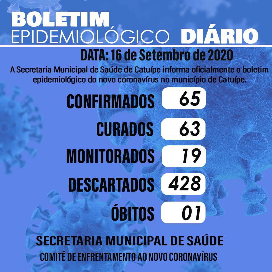 Boletim epidemiológico do dia 16 de setembro de 2020