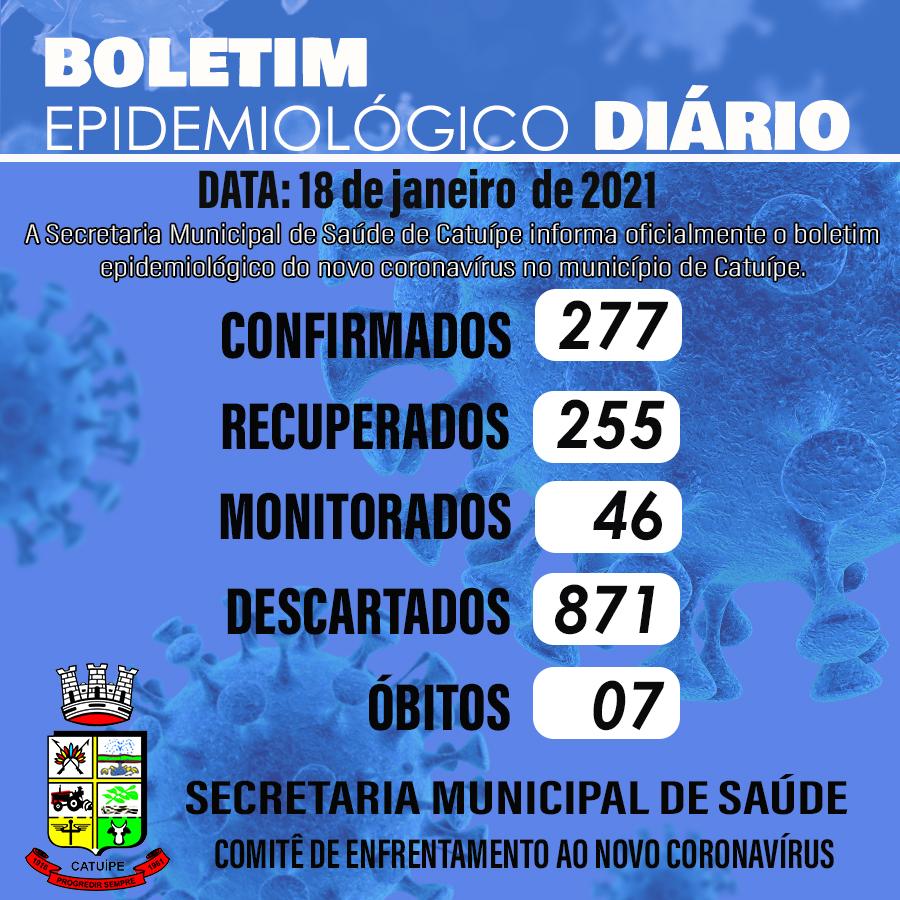 Boletim epidemiológico do dia 18 de janeiro de 2021