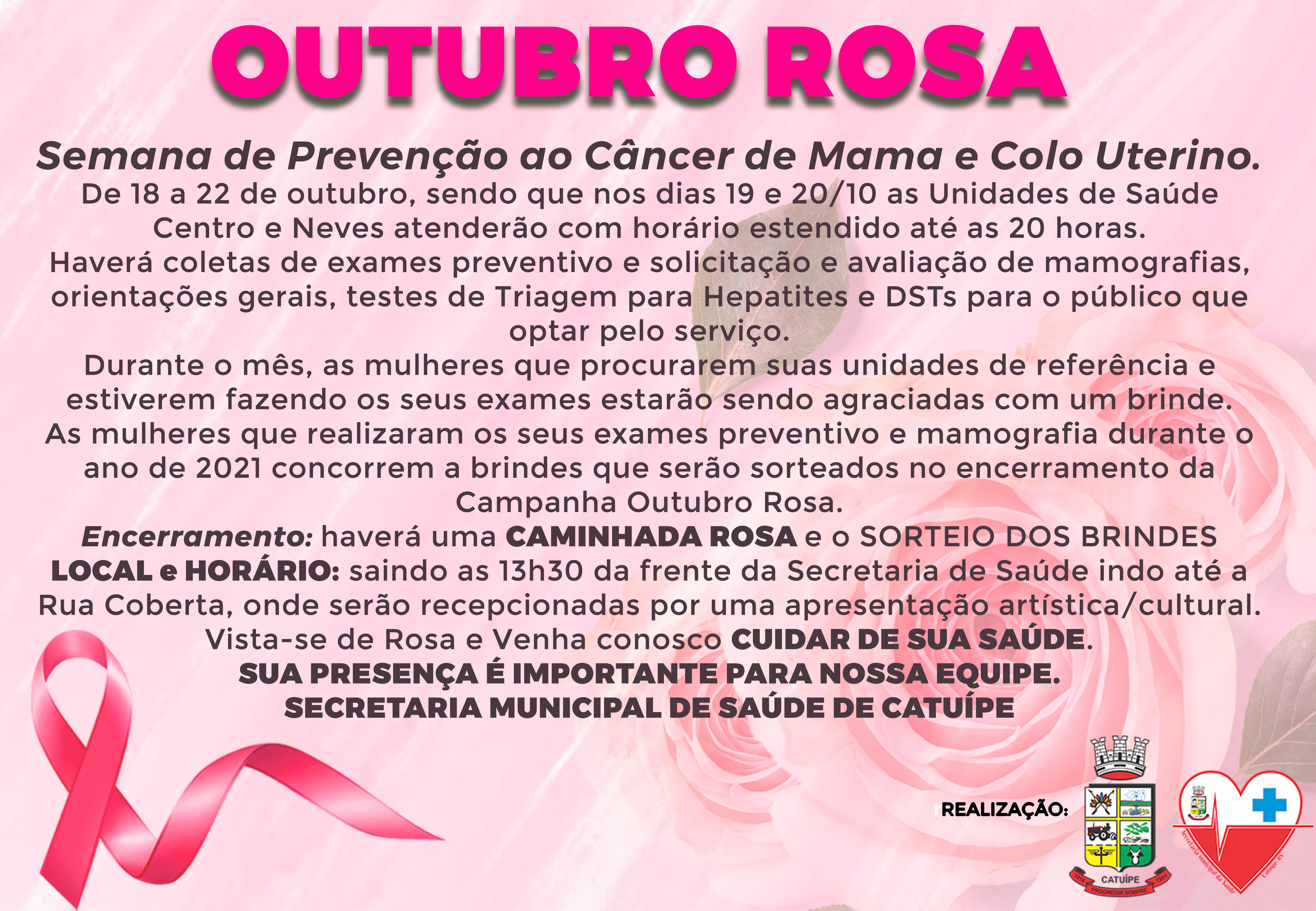 PROGRAMAÇÃO ALUSIVA AO OUTUBRO ROSA EM CATUÍPE